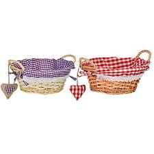 Premier Housewares 23diax9cm Round Willow Basket Storage Red Gingham Lining