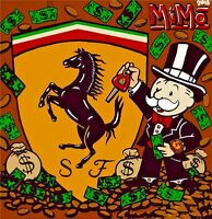 "Alec Monopoly Oil Painting on Canvas Urban art wall decor Racing Ferrari 28x28"""