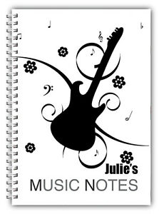 A5 PERSONALISED NOTEBOOK, NOTE BOOK, 50 LINED OR BLANK, GUITAR MUSIC NOTES 01