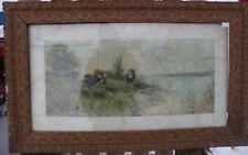 "Antique Gold Gild Vintage Picture Wood Frame Ornate Gesso Grape Vines 31""x 19"""