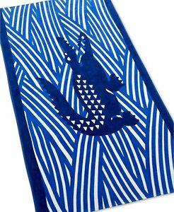 "New Lacoste Beach Cotton Towel 36"" x 72"" CROCO JANGLE BLUE"