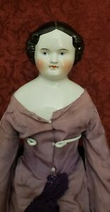 Antique German Porcelain Black Haired China Head Lady High Brow Center Part 23in