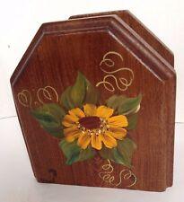 wood Tole Napkin Holder Black eyed susan yellow flower Folk Country signed Foust