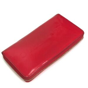 Kate Spade Red Patent Leather Embossed Zip Around Clutch Credit Card Wallet