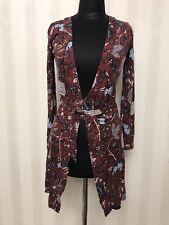 Diane Von Furstenberg Romper Cardigan Multicolor Purple Silk Size M Luxury AUTH