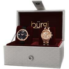 Burgi BUR134RG GMT Day Date Diamond Dial Strap Bracelet Womens Watch Set