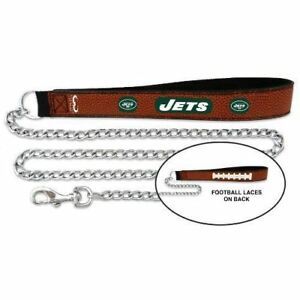 NFL New York Jets Football Leather Dog Pet Chain Leash Medium Size Up to 50 Lbs