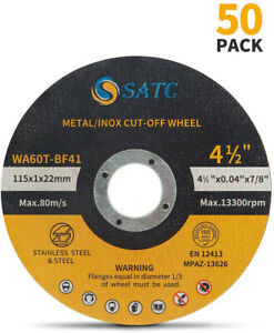 """50 Pack Cut Off Wheels 4-1/2"""" Metal & Stainless Steel Angle Grinder Cutting Disc"""