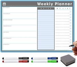A3 Magnetic Weekly Planner, Dry Wipe Meal Planner Magnet, Fridge Calendar Daily