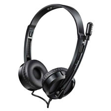 Rapoo H100 Wired Stereo Headphones Over Ear Audio Headset w/ Mic/Microphone BLK