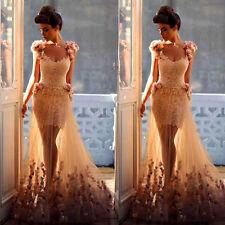 Meerjungfrau Spitze Tüll Blume Hochzeitskleid Abendkleid Ballkleid Brautkleider