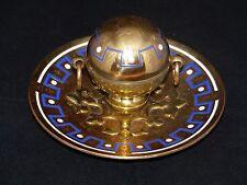 Rare Antique 19th Century Halstaff & Hannaford Brass / Enamel Inkwell