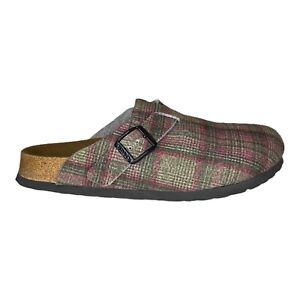 Birkenstock Birkis Boston Clog Slip On Plaid Wool Felt Slides Women's Size 7