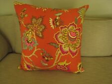 "Large ""Oriental Red"" Orange Pillow Jacobean Floral Print, 23 x 23 incl. insert"