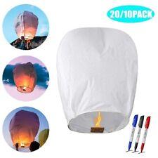 20/10Pack Paper Lanterns Chinese Wishing Lanterns With 3 Marker Pen k#t