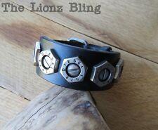 Urban Vintage style Genuine Black Leather Band Bolt Rivet DIESEL Bracelet