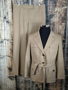 Talbots 2Pc Pant Suit Womens 12/14 Tan Wool Safari Lined Stretch Made in Italy
