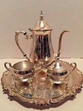 Vintage Sheridan Taunton Silversmith 4 piece Coffee/Tea Set Silver on Brass