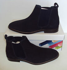 RRP £75 Men's Navy Real Suede Leather Formal Dealer Slip On Boots Sizes 8 10 11