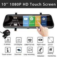 10'' 1080P Car Rear View Mirror Camera Recorder G-Sensor DVR Dash Cam Dual