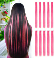 "10pcs Colored Clip in Hair Extensions 22""Straight Fashion Hairpieces for Party"