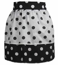 Ladies 1950's Black Polka Dot Pinafore With Reversed Polkadot Apron One Size