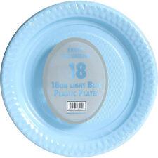 "18 x BLUE PLASTIC PLATES 18cm 7"" PARTY SUPPLIES TABLEWARE DISPOSABLES ROUND"
