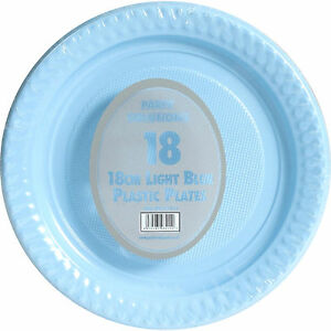 "36 x BLUE PLASTIC PLATES 18cm 7"" PARTY SUPPLIES TABLEWARE DISPOSABLES ROUND"