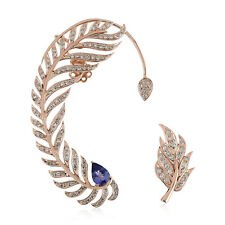 0.81ct Pave Diamond Tanzanite 18kt Rose Gold Ear Cuffs Jewelry