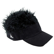 FLAIR HAIR HATS WITH HAIR BLACK VISOR BLACK HAIR QUALITY SURF SKATE SNOW GOLF