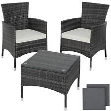 ACCIAIO Poly Rattan Set di mobili da giardino patio sedia di vimini 2x 1x tabella Grigio Nuovo
