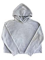 Juicy Couture New Black Label Gray Bling Velour Hoodie Slouchy Sweatshirt Large