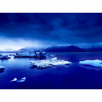 Arctic Ocean Ice Icebergs Large Canvas Wall Art Print
