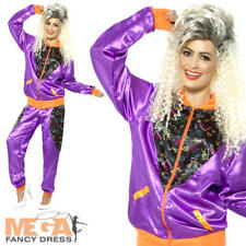 Retro Shell Suit Ladies Fancy Dress Tracksuit 1980s Scouser Womens 80s Costume Medium 12-14