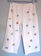 RICHARD MALCOLM White Linen Embroidery Purses & Shoes Crop Pants, 8P