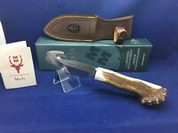Muela Stag Sabueso Upswept Fixed Blade Knife Mint Box With Leather Sheath - 11S