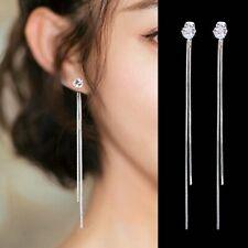 Fashion Long Chain Tassel Earrings Rhinestone Hanging Drop Dangle Ear Line Gifts