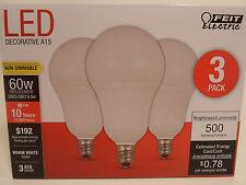 3 Pack LED CANDELABRA BASE small WARM WHITE Feit 60W Equivalent  6W Light Bulbs
