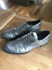 Alexander McQueen Hand-finished Grey Silver Dress Shoes Metal Heel Size 44 US 11