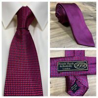Frank Theak Roskilly London 100% Pure Silk Mens Red Blue Checked Neck Tie - NEW