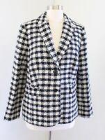 Talbots Cream Plaid Rainbow Confetti Tweed Wool Blend Blazer Jacket Size 12P