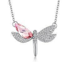 NEW Womens Dragonfly Pink Crystal Rhinestone Silver Chain Pendant Necklace ---