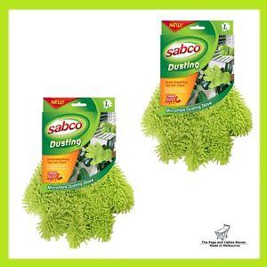 2x Sabco Microfingers Green Dusting Glove Microfibre