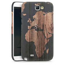 Samsung Galaxy Note 2 Premium Case Hülle Cover - Wooden World Map