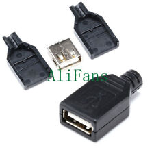 5PCS USB2.0 Type-A Plug 4-pin female Adapter Connector jack&Black Plastic Cover