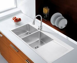 Handmade Stainless Steel Kitchen Sink Double Bowls with Drainer (114x50cm) Local