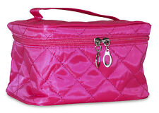 Rose Pink Quilted Small Designer Travel Cosmetic Makeup Bag Case Make Up Women