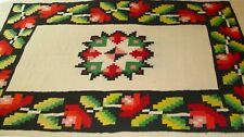 Vintage Handwoven Mexican Rug Vibrant Colors Wool Southwest Style Rustic Decor.