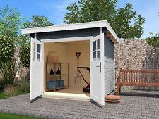 Weka Gartenhaus 179 Gr.1 grau 28 mm Blockbohlenstärke mit Flachdach 235x209 cm