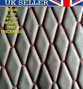 🇬🇧🌟 Black Quilted Faux Leather Fabric Diamond Car/Van Upholstery Trim